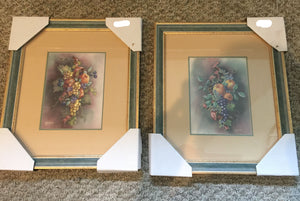 7813 - A - Fruit & Flower Bouquets - Set of 2 - Artist J.Gibson - Harvest I and II