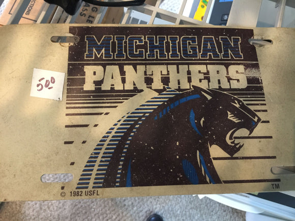 7824 - SP - 1982 USFL License Plate - Michigan Panthers - Used Condition