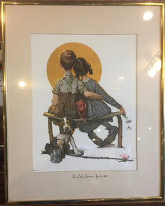 7826  - A - Print - Vintage Norman Rockwell - The Little Spooners April 24, 1926 - Framed, Matted with Glass