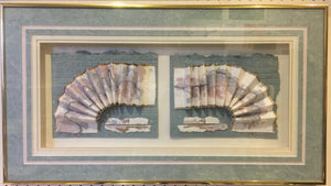 7827 - A - 2-Panel Textured Paper Arrangement - Signed Original - Framed, Exquisitely Matted under glass