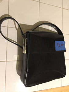 7863A  Apparel - Large Black Designer Purse with  Leather  Secure Flap and Shoulder Strap