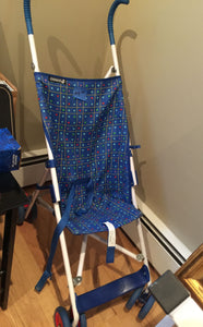 7883 - H - Childs Stroller - Folding - Blue & Red Square & Dot Pattern - In Store Pick Up ONLY""