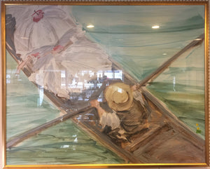 7961 - A - 1989 Jerry Sic Signed and Dated - Rendering of a Young Couple in Row Boat