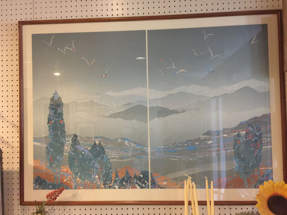 7963 - A - Mountain Mist Scene with Birds, Water, Trees - Split Landscape - 2/2 Limited Edition - Signed Framed with Glass
