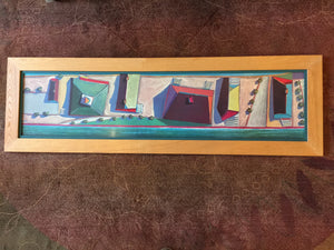 "7966 -  A - Colorful Abstract Print - Beautifully Framed and Matted - 54"" x 16-3/4"""