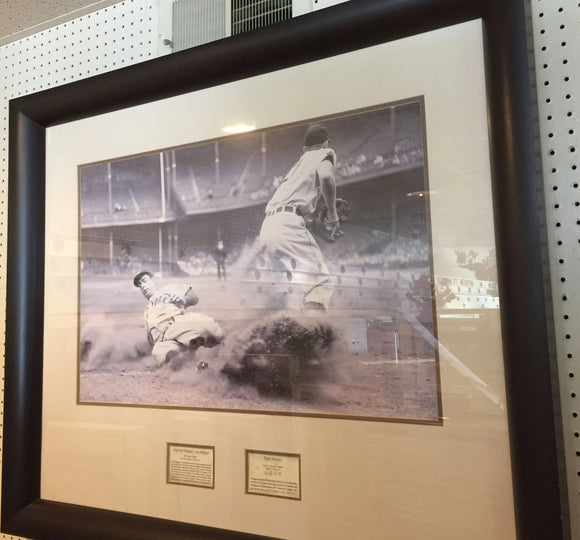 7967 - A - Photo Print - Joe DiMaggio Stealing 3rd Base - Framed & Matted -