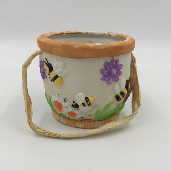 8057 - H - Honey Pot with Handle - Very Colorful & Cheery