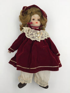 8086 - T -  European Doll in Burgundy Dress and Bonnet - Wearing knickers and Leather Shoes - Very Realistic Sweet Appearance -