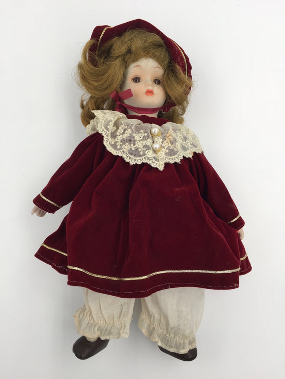 8086 - T -  European Doll in Burgundy Dress and Bonnet - Wearing knickers and Leather Shoes - Very Realistic Sweet Appearance