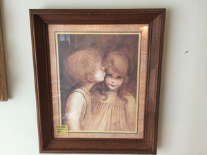 8138 - A - Famous Rendering of a Young Boy & Girl - Classically Framed & Matted Print