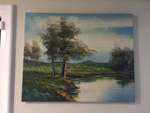 8139 - A - Signed Oil - Lake with Trees