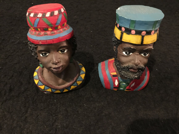 8195 - H - African Ceramic Bust of King and Queen