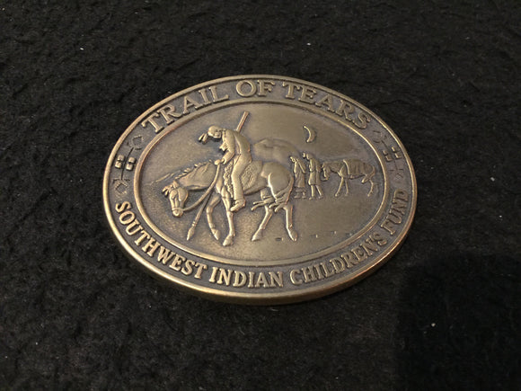 8205 - Trail of Tears Indian Belt Buckle - Brass & Numbered