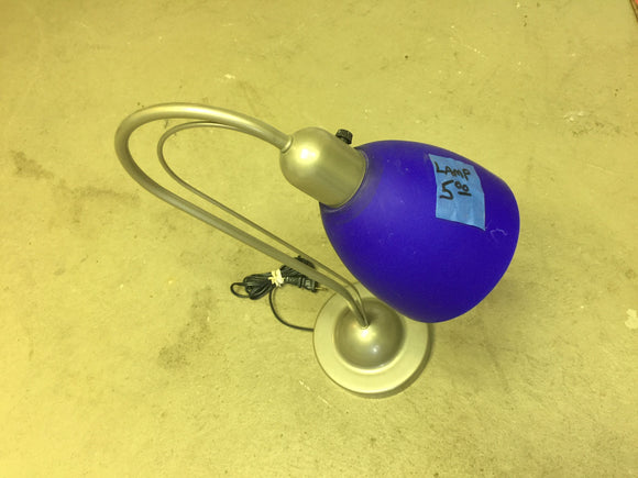 8244 - O - Desk Lamp - Silver & Blue Glass