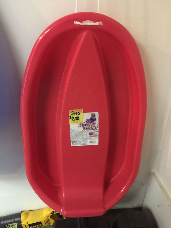 8251 - SP - One Man Heavy Plastic Red Sled - Great for Downhill or Pulling - Never Used