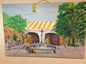 8285 - A - Original Oil Painting 60's Era - Bustling Festive Stripe Pavilion Tropic Scene by Fountain