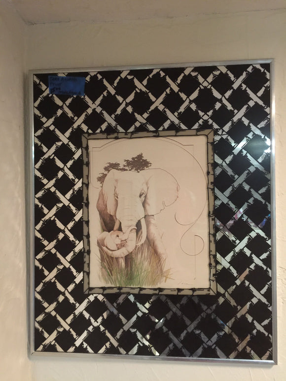 8287 - A - Print - Mother Elephant & Her Calf Rendering Framed with a Bamboo Matting
