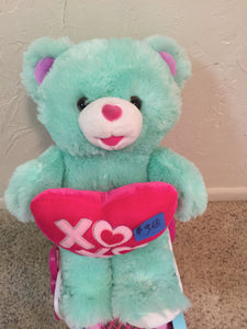 8292 - T - Teddy Bear - Turquoise with Holding an Adorable Heart with Kisses - a Cuddly Pal