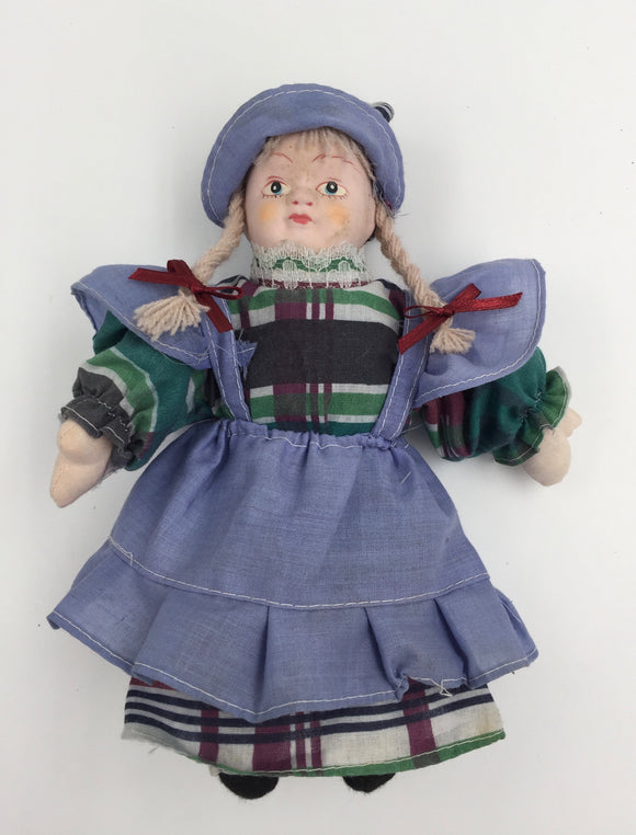 8298 - T - Doll with a Cute Traditional European Blue & Plaid Outfit & Bonnet