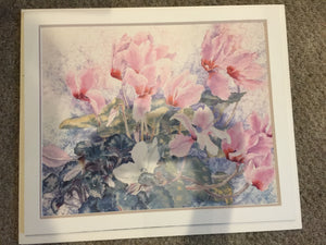 8380 - A - Floral Print with Pink, White and Green Tones - Matted on Foam Board - Ready for Framing