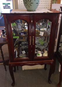 8424 - H - Cherry Wood Shelf Top Curio with Glass French Doors and Glass Sides - Display Your Treasures