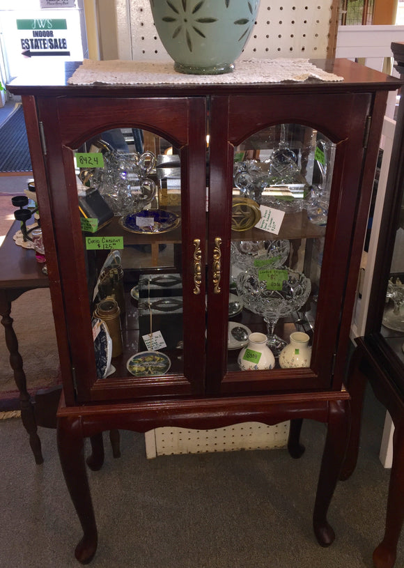 8424 - H - Cherry Wood Shelf Top Curio with Glass French Doors and Glass Sides - Display Your Treasures and Keep Them Clean & Secure