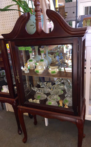 8425 - H - Curio Cabinet - Ornate Top - Cherry Wood Cornice Top Curio with Single Glass Door and Glass Sides