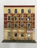 8439 - T - 4-Story Apartment Building with Scaffold, Workman, and Lights