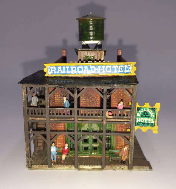 8442 - T - Railroad Hotel with Signage, Upper Floor Deck & Roof Top Water Tank