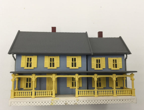 8447 - T - 2-Story Colonial - Slate Blue with Yellow Shutters - wired Lights