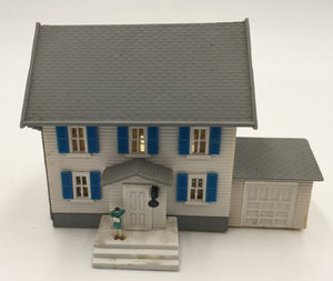 8449 - T - 2-Story Colonial Home - White with Blue Shutters - wired for Light - N Scale