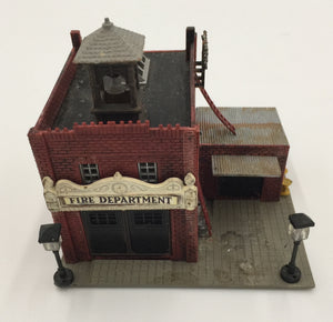 8462 - T - Fire Station w/Bell Tower and 2 Working Lamps