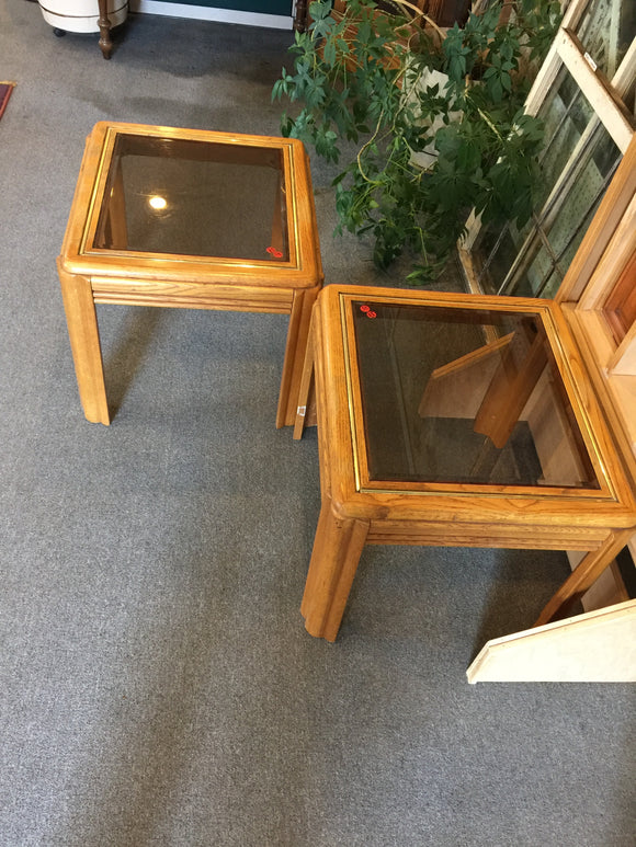 8468 - H - Twin End Tables - Oak and Beveled Glass Top - Brass Inlay on the Top
