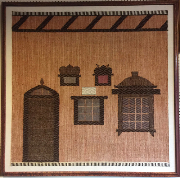 8490 - A - Tapestry - Hand Woven Home Interior Window, Door, & Wall Hanging Scene - Exotic Wood Framed -