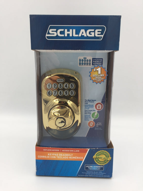 8511 - H - Schlage  Dead Bolt Entry BE365 V Plymouth 505 - Bright Brass Finish - New in Original Unopened Box