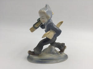 "8528 - H - Vintage German Porcelain Child Skier Blue Gray - 5.5"" tall - Trudging Thru Snow in Ski Outfit - East Germany"