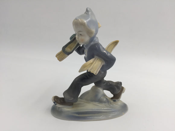 8528 - H - Vintage German Porcelain Child Skier Blue Gray - 5.5