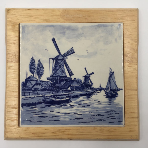 8539 - C - Delft Blue Hand Painted Porcelain - Rendering of a Holland North Sea Port, Windmills, Sea vessels, Small Village, Seagulls, that bring peaceful and serene thoughts to the observer