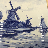 8539 - C - Delft Blue Hand Painted Porcelain - Rendering of a Holland North Sea Port, Windmills, Sea vessels, Small Village, Seagulls