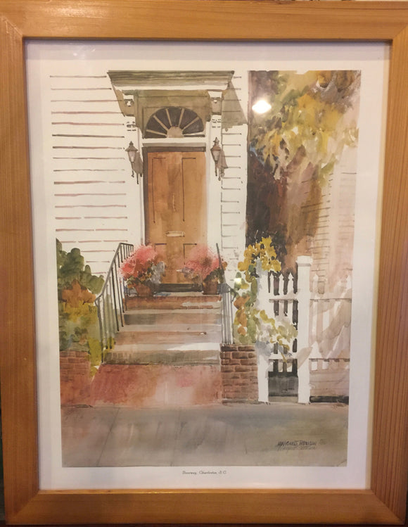 8542 - A - Signed Print - Margaret Petterson - Doorway, Charleston,  Limited Edition - 591 /1000 - Framed, Matted Under Glass