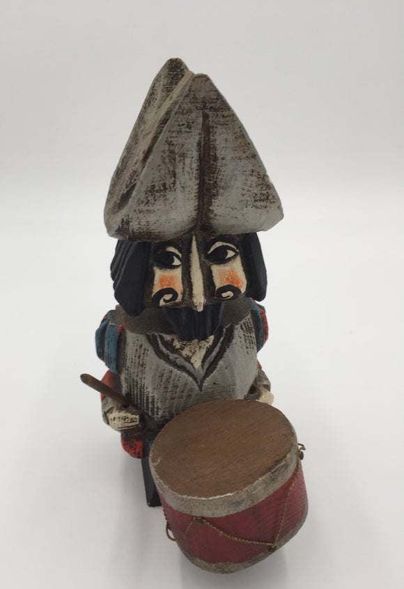 8591 - H - Spanish Wood Soldier in Uniform Playing Drum - Made in Spain