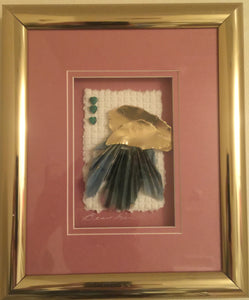 8720 - A - Paper - Set of 2 - Paper Arrangement Hand made Painted - Originally Signed Beaubien - Framed, Matted with Glass - Set of 2