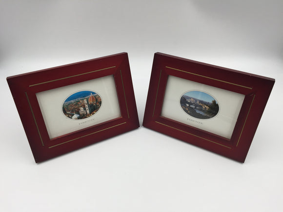 8747 - A - Set of 2 Scenic Firenze City Pictures - Framed in Redwood with Brass Inlay.