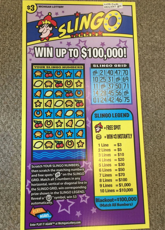 8777 - A - Poster - Michigan Lottery - $3 Slingo Vinyl 2-Sided - Official Sign