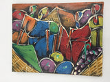 "8806 - A - Original Oil Painting on Stretched Canvas - Abstract - Basket of Tropical Fruit - 10"" x 8"""
