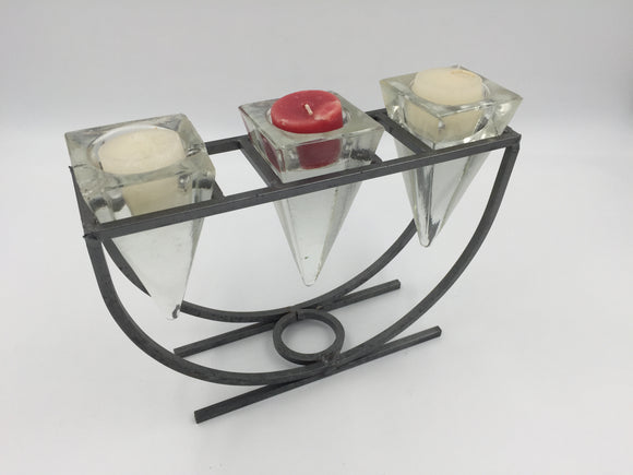 8810 - H - 3-Candle Holder - Metal Frame with Geometric Glass Holders - Very Mod Design  -