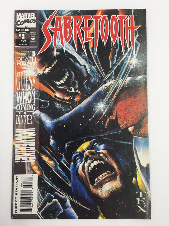 8837 - C - Comic Book - Sabretooth #3 - Guess Who's Coming To Dinner ... Wolverine - Marvel Comics - 9.8 -