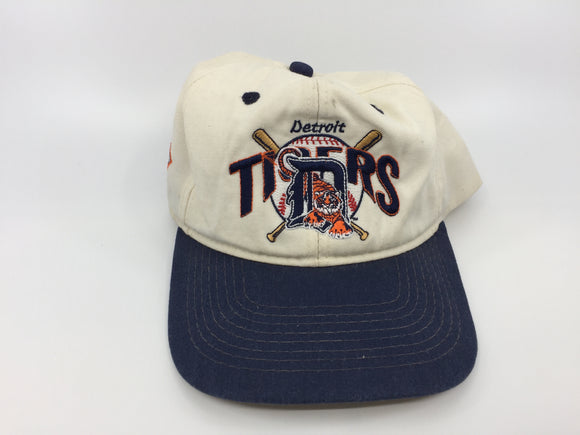 8890 - SP - Detroit Tigers Official Baseball Cap - White & Blue with English D and Tiger Entwined