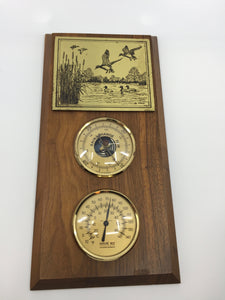 8894 - H - Humidty & Temperature Gauges with Metal Etching signed G. Foott - Wild-life Scene - Made in France & Colorado