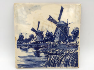 8948 - C - Blauw Delfts Distel - Antique SCR Hand Painted Porcelain Tile - Made in Holland - Canal Scene with Majestic Windmills and Cottage Homes -